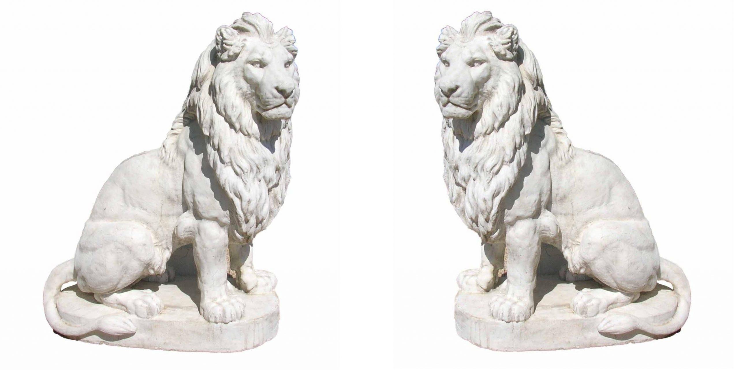 Sculpture D'une Paire De Lions Grande Taille En Pierre encequiconcerne Lion En Pierre Pour Jardin