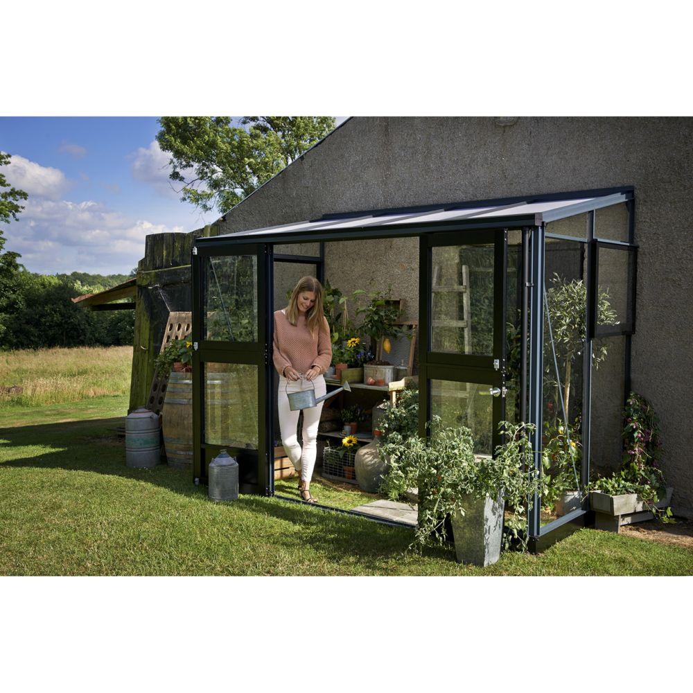 Serre Adossée En Verre Trempé Veranda Anthracite 4.4 M² + Embase - Juliana tout Serre De Jardin Adossée