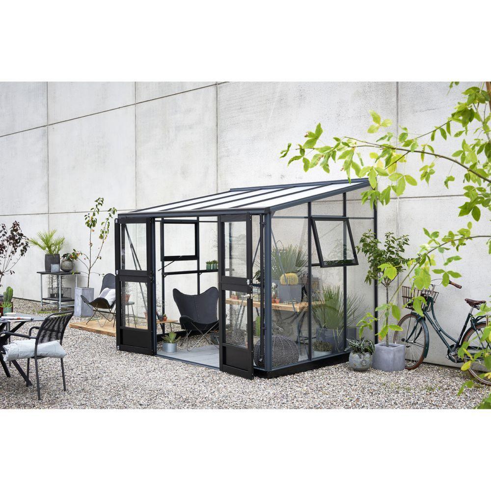 Serre Adossée En Verre Trempé Veranda Anthracite 6.6 M² ... pour Serre De Jardin Adossée