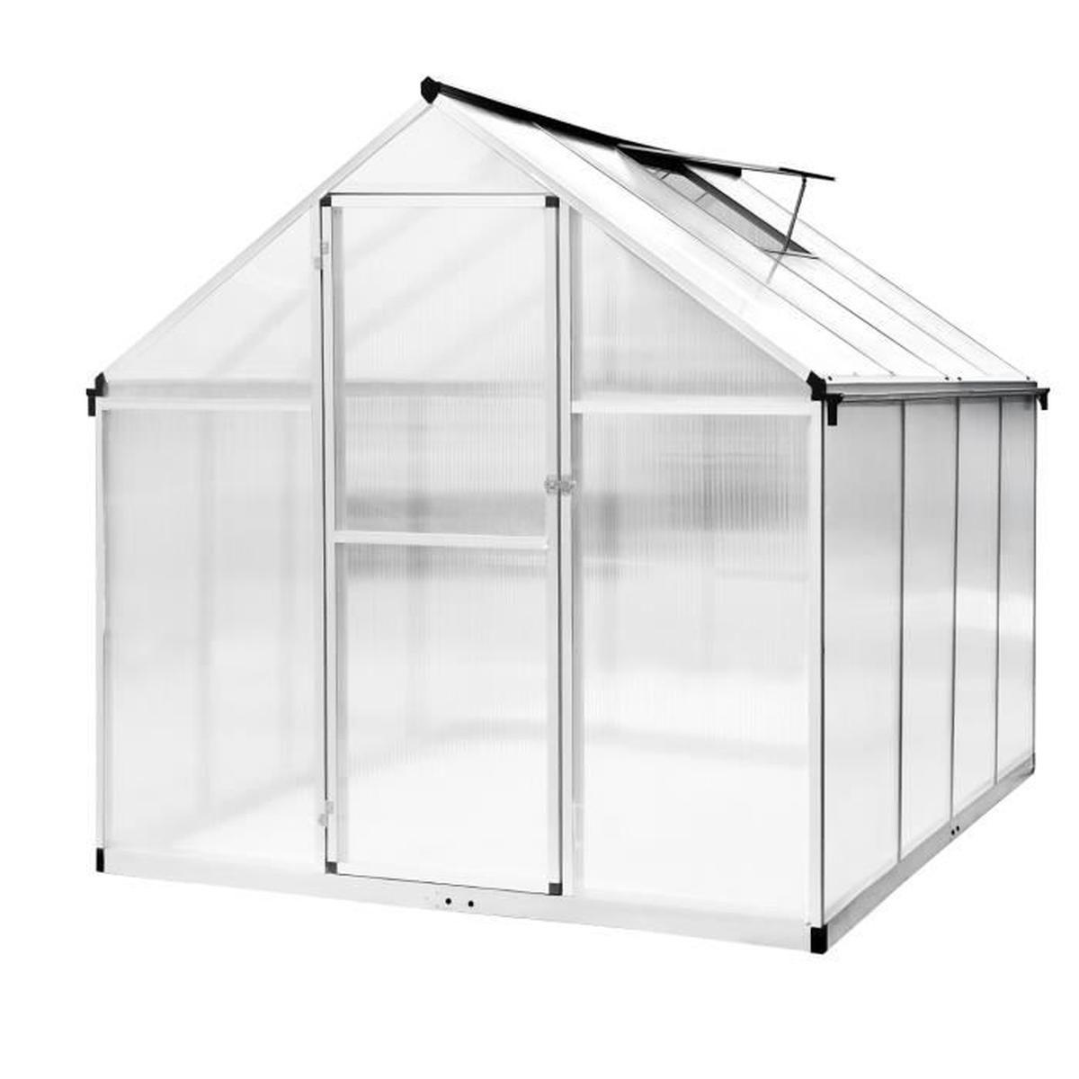 Serre De Jardin 242*190*195Cm Serre En Polycarbonate Aluminium Abri De  Jardin 4.60 M² avec Serre De Jardin Polycarbonate Pas Cher