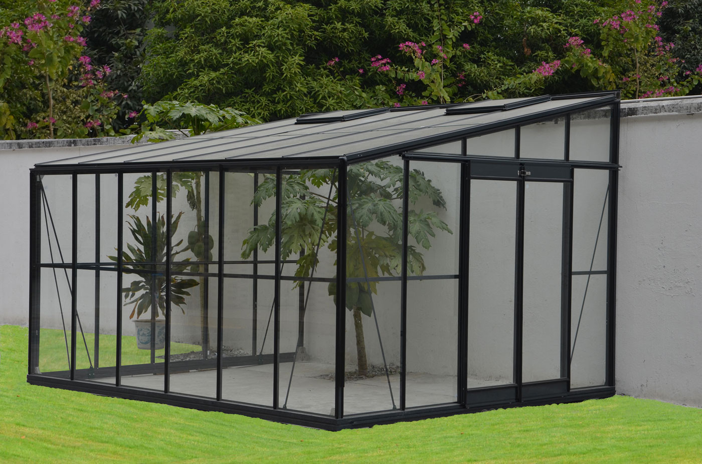 Serre De Jardin Adossable En Verre Trempé 11,85 M2 Gris Anthracite destiné Serre De Jardin En Verre Trempé