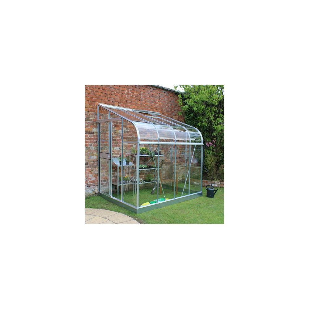 Serre De Jardin Adossée Silverline Verre Horticole 4.8 M² Aluminium +  Embase - Halls dedans Serre De Jardin Adossée