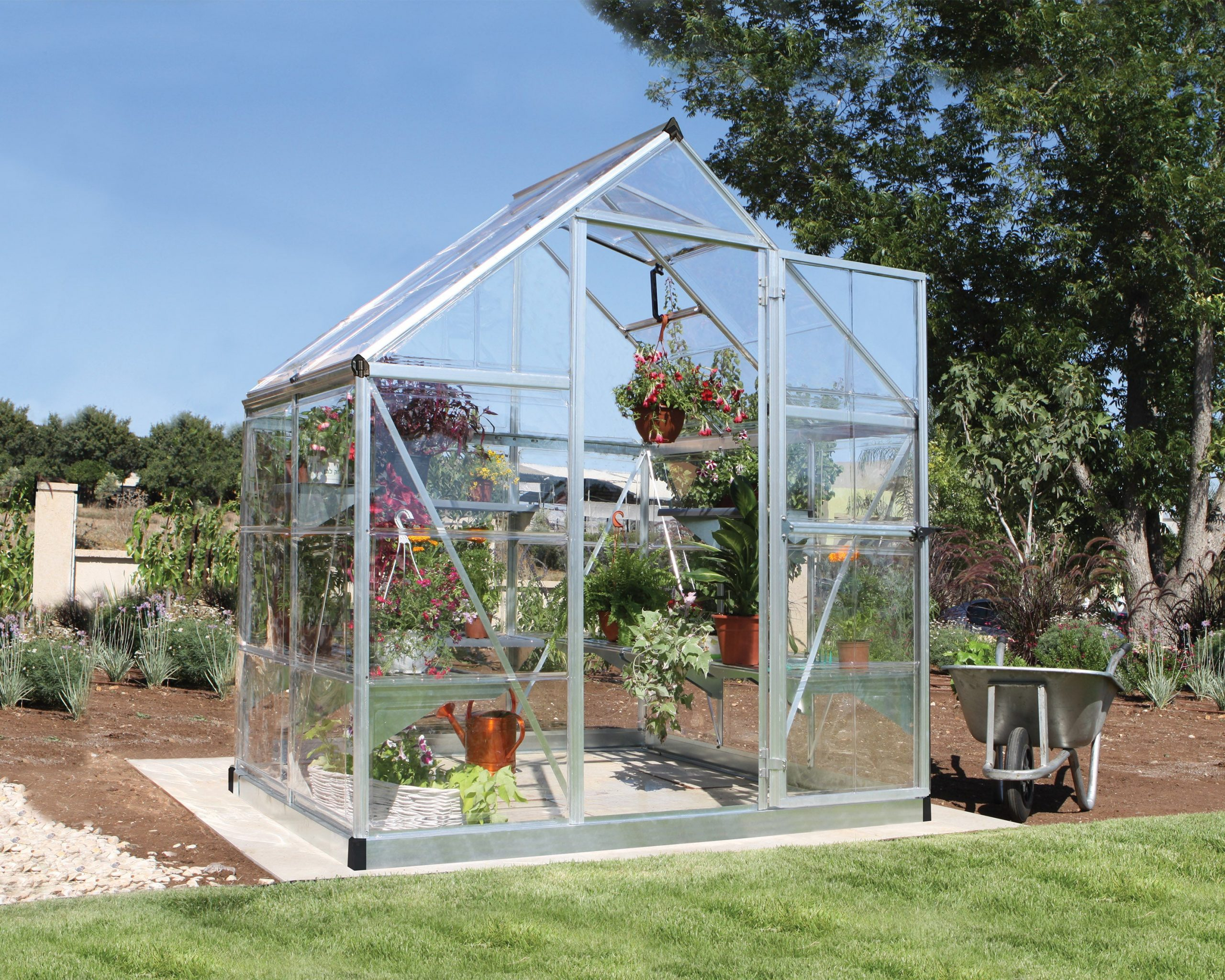 Serre De Jardin Argent Harmony 2.3 M², Aluminium Et Polycarbonate, Palram dedans Serre De Jardin Leroy Merlin
