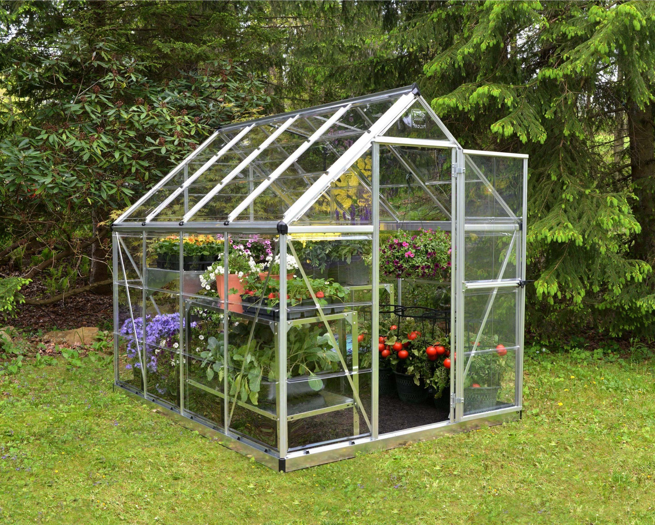 Serre De Jardin Argent Harmony 4.5 M², Aluminium Et ... avec Serre De Jardin Polycarbonate Pas Cher