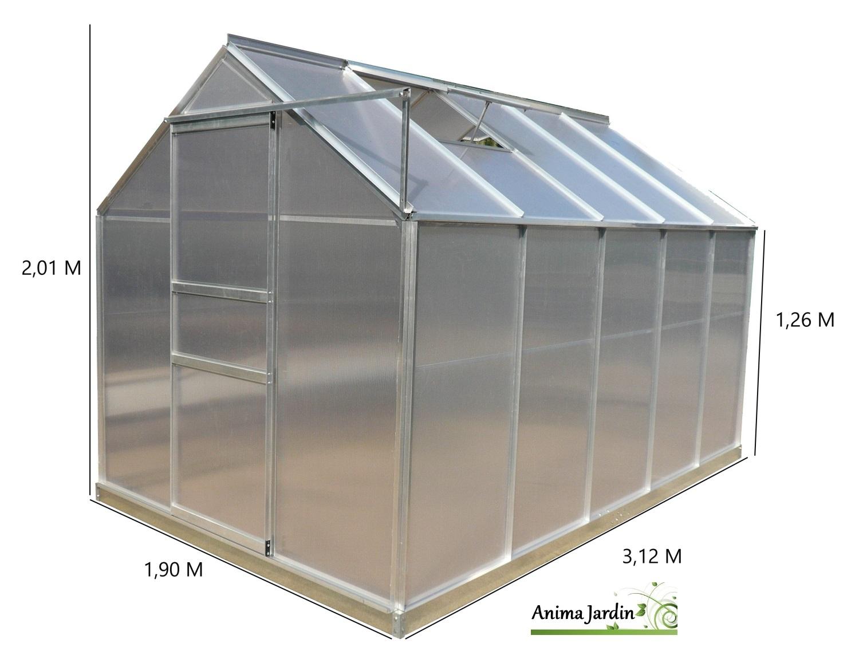 Serre De Jardin En Aluminium Et Polycarbonate, 5.92 M² ... intérieur Serre De Jardin Polycarbonate Pas Cher
