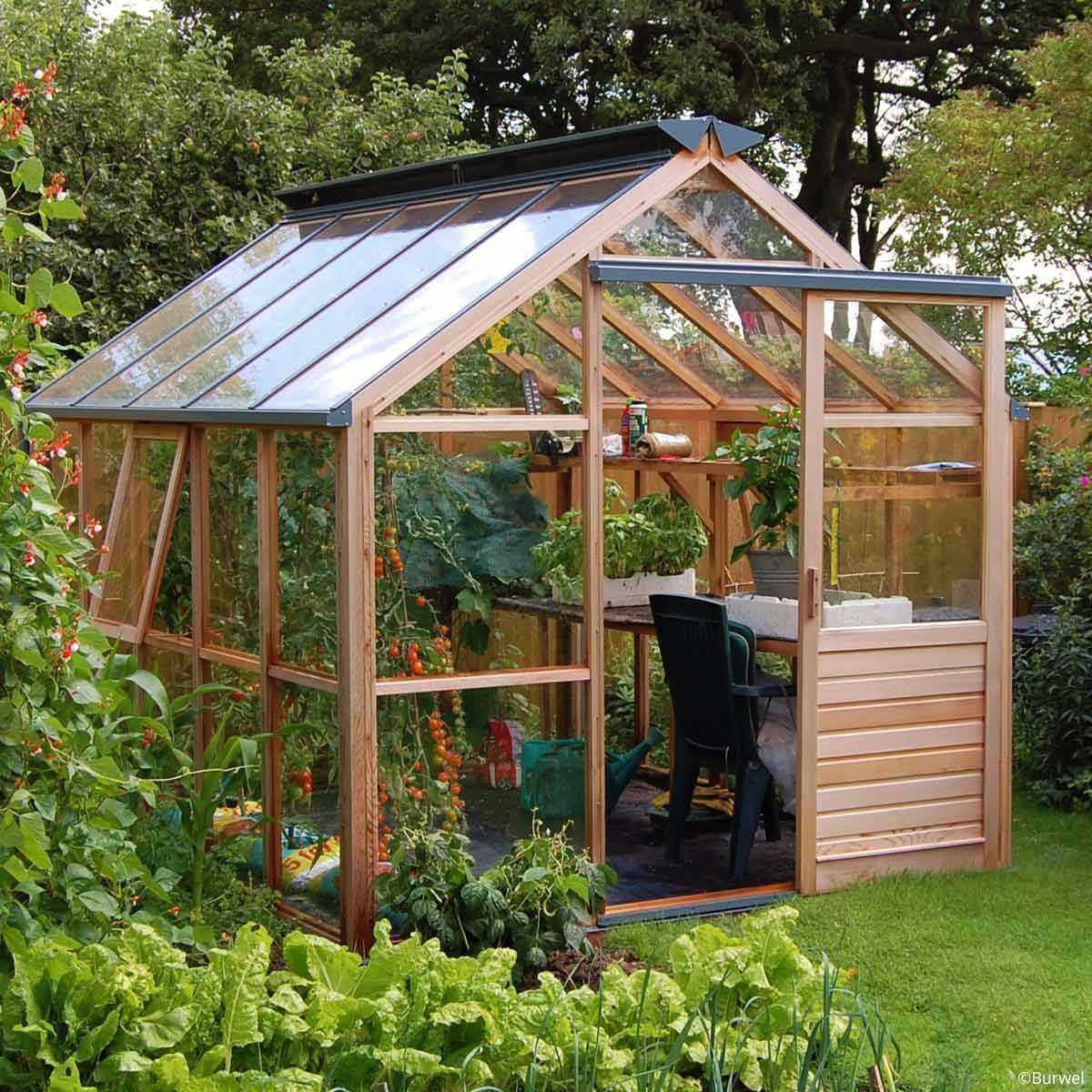 Serre De Jardin En Bois Classic Eight Gabriel Ash - 6 Panneaux encequiconcerne Abri De Jardin Avec Serre