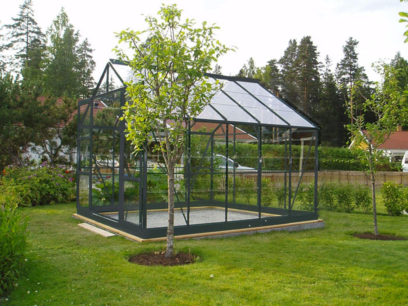 Serre De Jardin En Verre Trempé 7,42 M2 Gris Anthracite destiné Serres De Jardin En Verre
