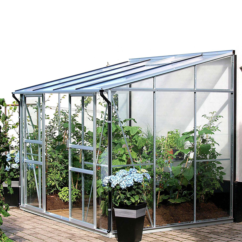 Serre De Jardin En Verre Trempé Adossée Melissa Ida 5200. Aluminium Naturel  - 979.00€ Livraison Comprise à Serre De Jardin Adossée