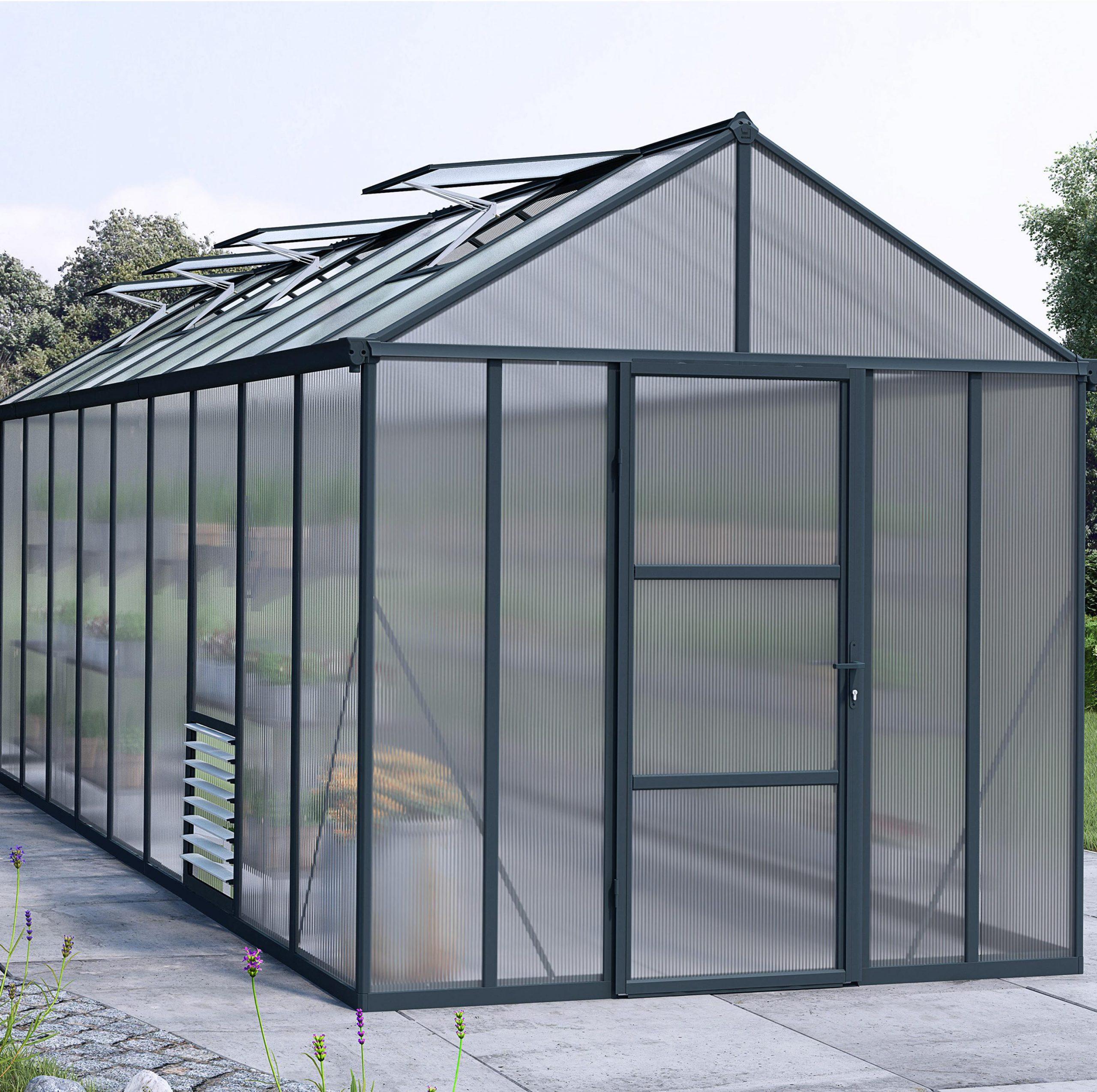 Serre De Jardin Glory 14.3 M², Aluminium Et Polycarbonate Double Parois,  Palram pour Serres De Jardin Leroy Merlin