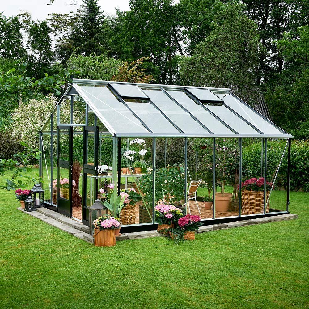 Serre En Verre Trempé Jardinier Aluminium 16.20 M² + Embase - Juliana encequiconcerne Serre De Jardin En Verre Trempé