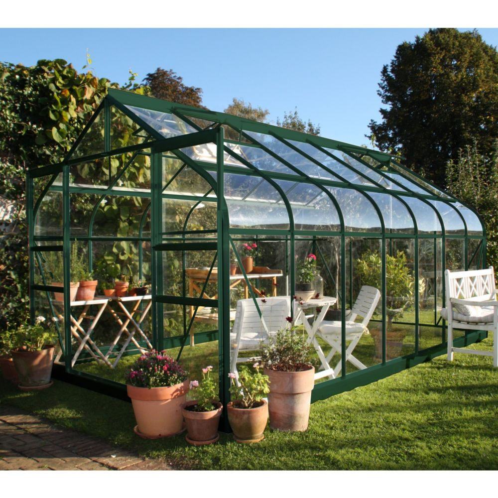 Serre En Verre Trempé Supreme Vert 11.4 M² + Embase - Halls à Ma Serre De Jardin