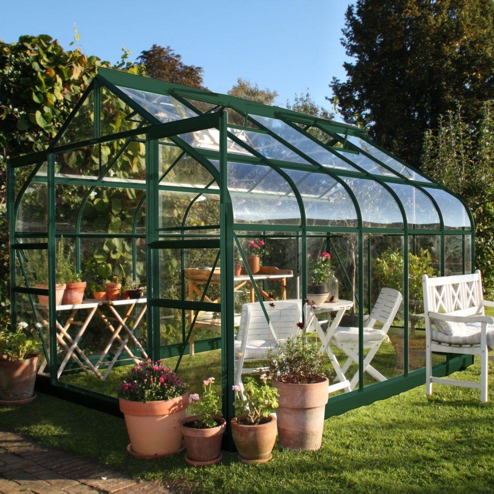 Serre En Verre Trempé Supreme Vert 8.1 M² - Halls à Petite Serres De Jardin