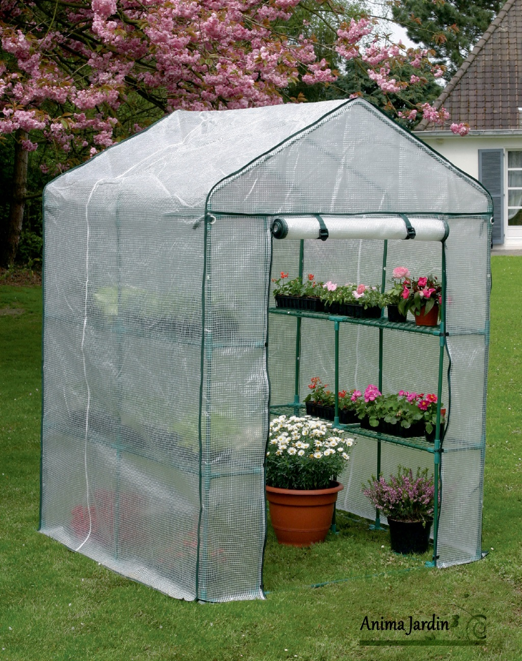 Serre Jardin 2 M², Greenseason 4 Nortène, Avec Étagères, Serre Pas Cher concernant Bache De Serre De Jardin
