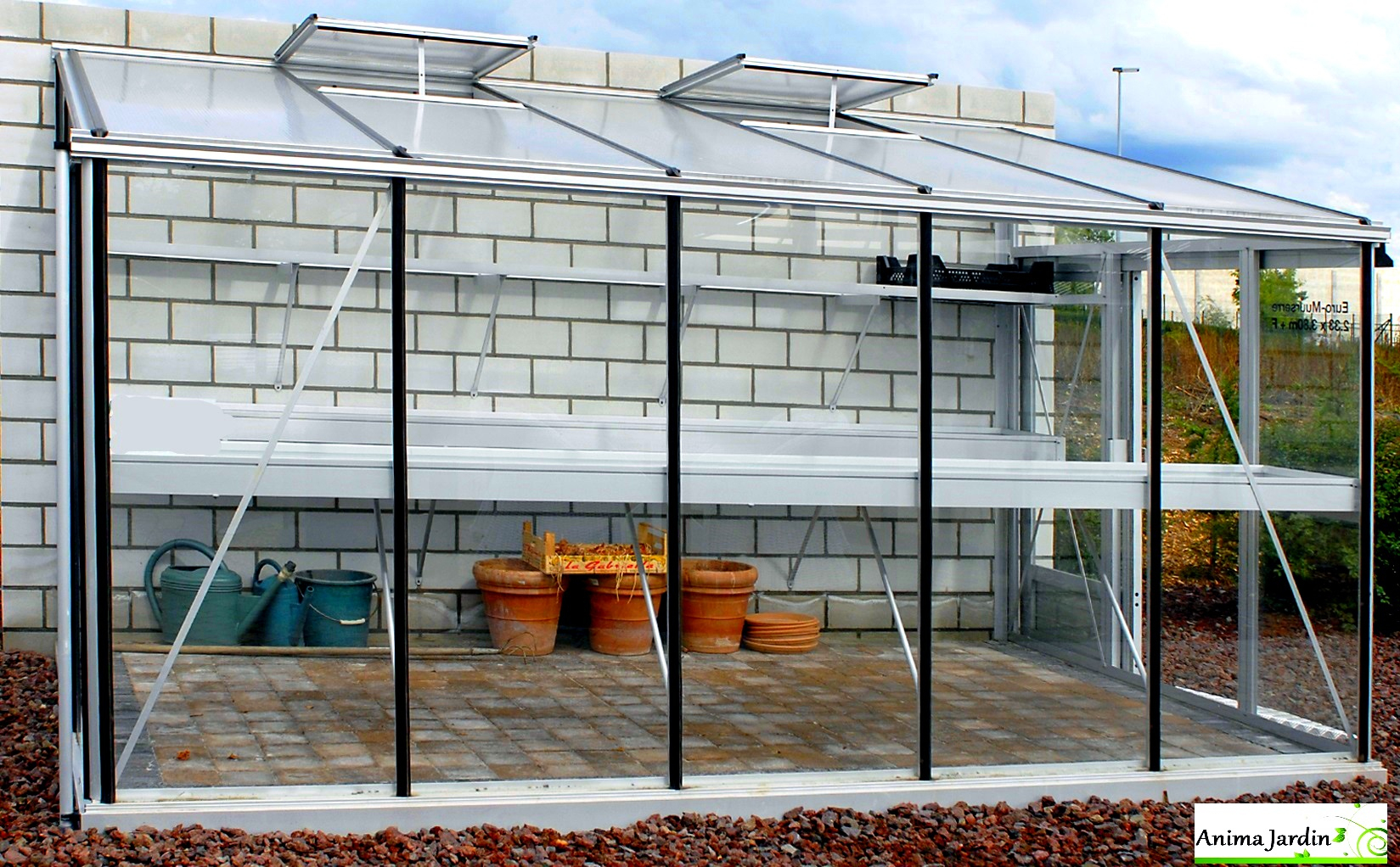 Serre Jardin Adossée, Murale, En Verre Trempé, Aluminium 3.80M, Euro-Serre,  Achat avec Serre De Jardin Adossée