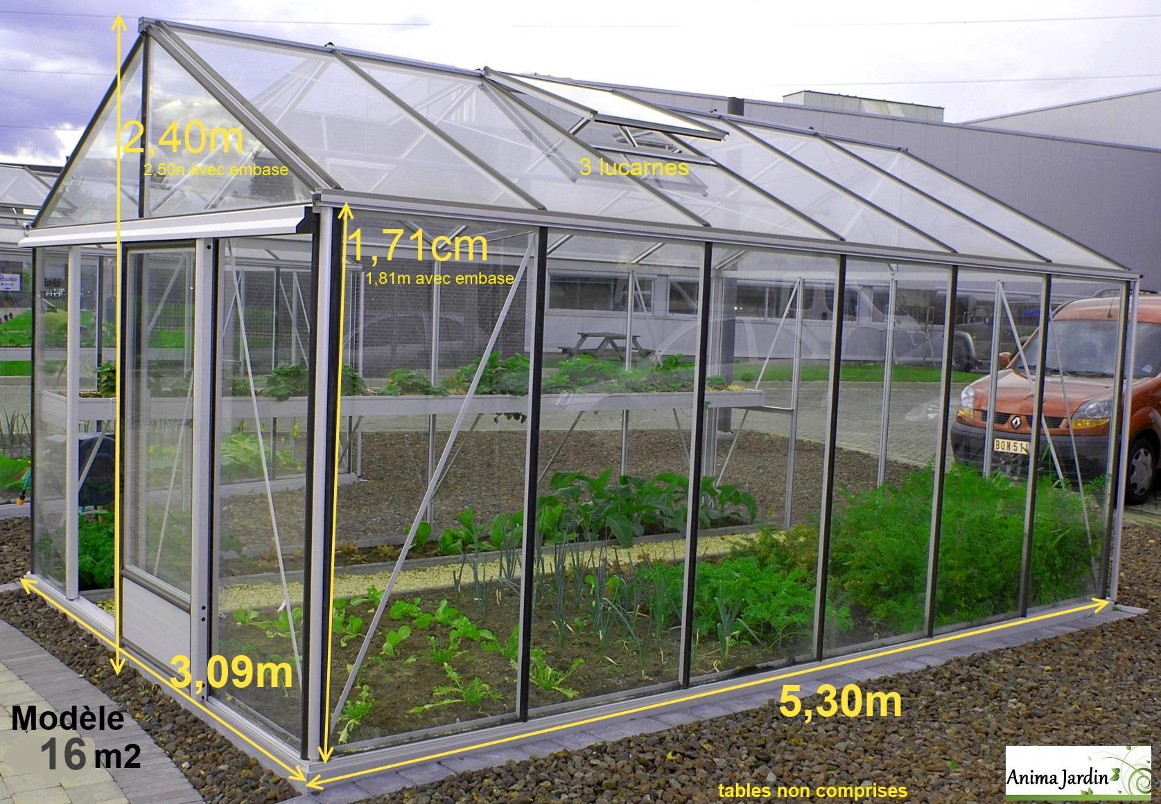 Serre Jardin Horticole, 16 M2, En Verre Trempé, Aluminium, Serre Euro Maxi,  Achat avec Solde Serre De Jardin