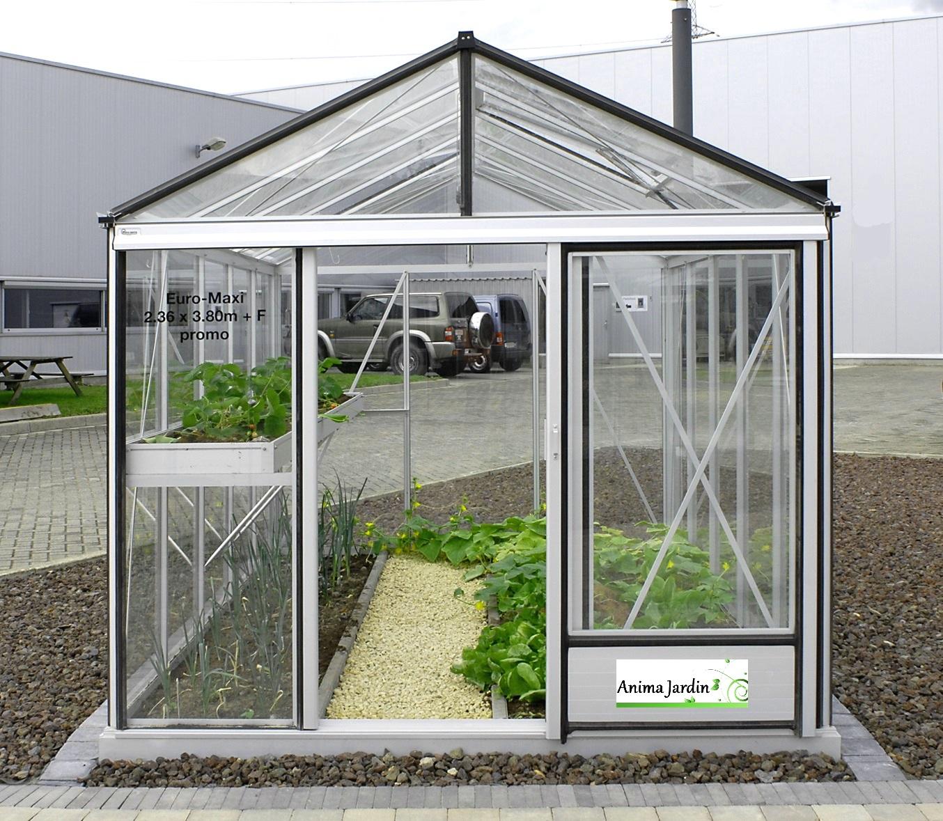 Serre Jardin Horticole, 7.30 M2, En Verre Trempé, Aluminium, Serre Euro  Maxi, Achat avec Promo Serre De Jardin En Verre