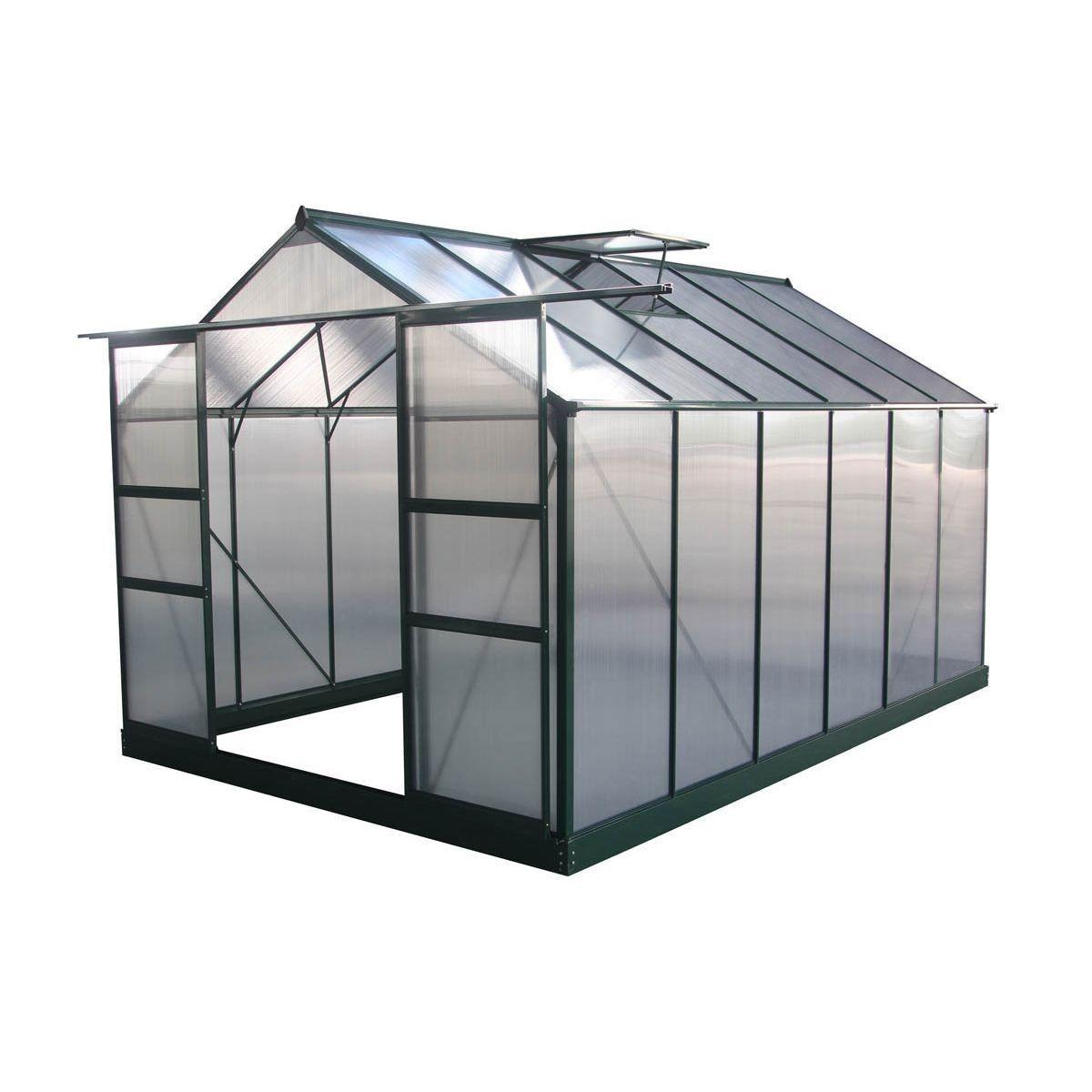 "Serre Jardin Polycarbonate ""dahlia"" Vert Sapin 9,24 M² ... intérieur Serre De Jardin Polycarbonate Pas Cher"