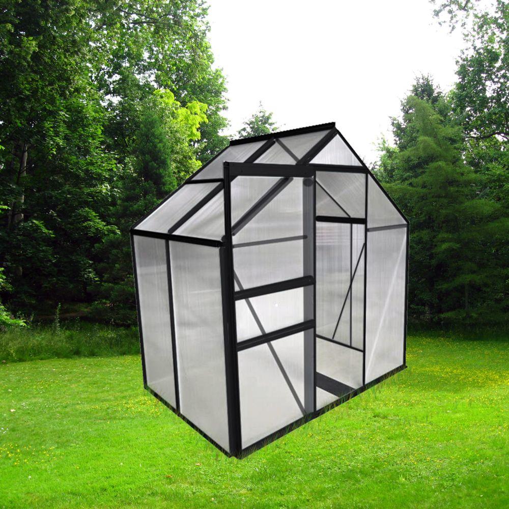 Serre Polycarbonate Anthracite 2.30 M² - Châlet-Jardin destiné Serre De Jardin Polycarbonate Pas Cher