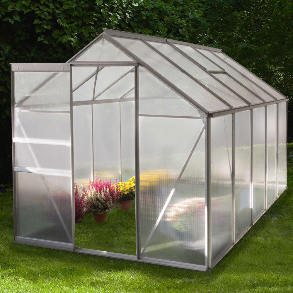Serre Polycarbonate Diamant Grise 6 M² - Châlet-Jardin tout Exposition Serre De Jardin