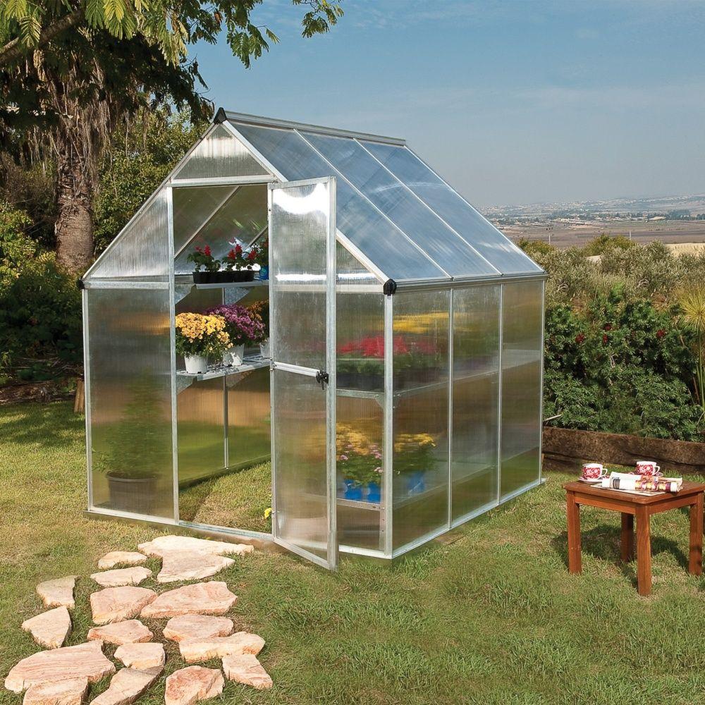 Serre Polycarbonate Mythos 3,40 M² + Embase - Palram pour Fabriquer Serre De Jardin Polycarbonate