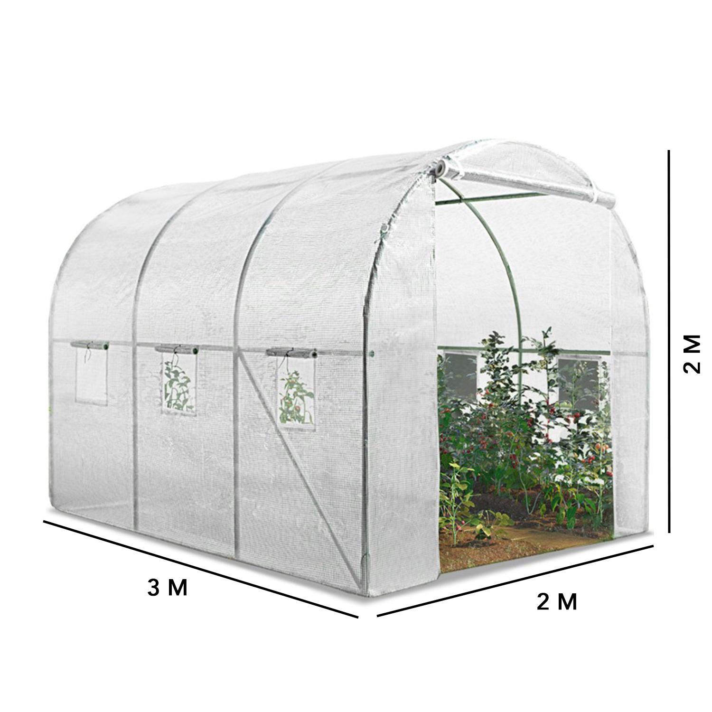 Serre Tunnel Toutes Saisons 6M² 140G/m² Blanche Idmarket destiné Serre De Jardin Pas Chere