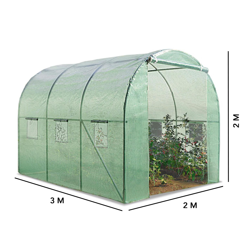 Serre Tunnel Toutes Saisons 6M² 140G/m² Verte Idmarket serapportantà Petite Serre De Jardin Pas Cher