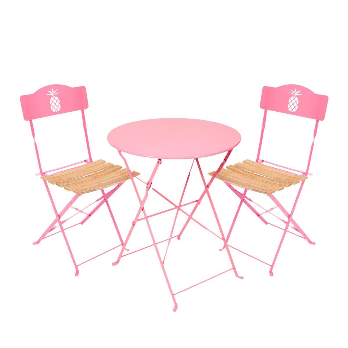 Set De Jardin Rose Ananas , 1 Table Ronde Et 2 Chaises - Acier Et Bois  Tati.fr dedans Table Jardin Rose