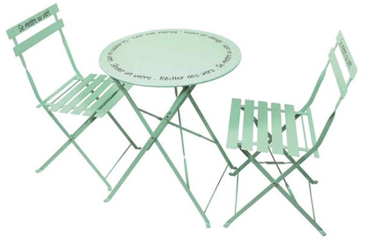 Set De Table Et Chaises De Jardin Avec Inscriptions En Acier Vert D'eau  Gardi Plus D's à Table De Jardin Avec Chaise Pas Cher