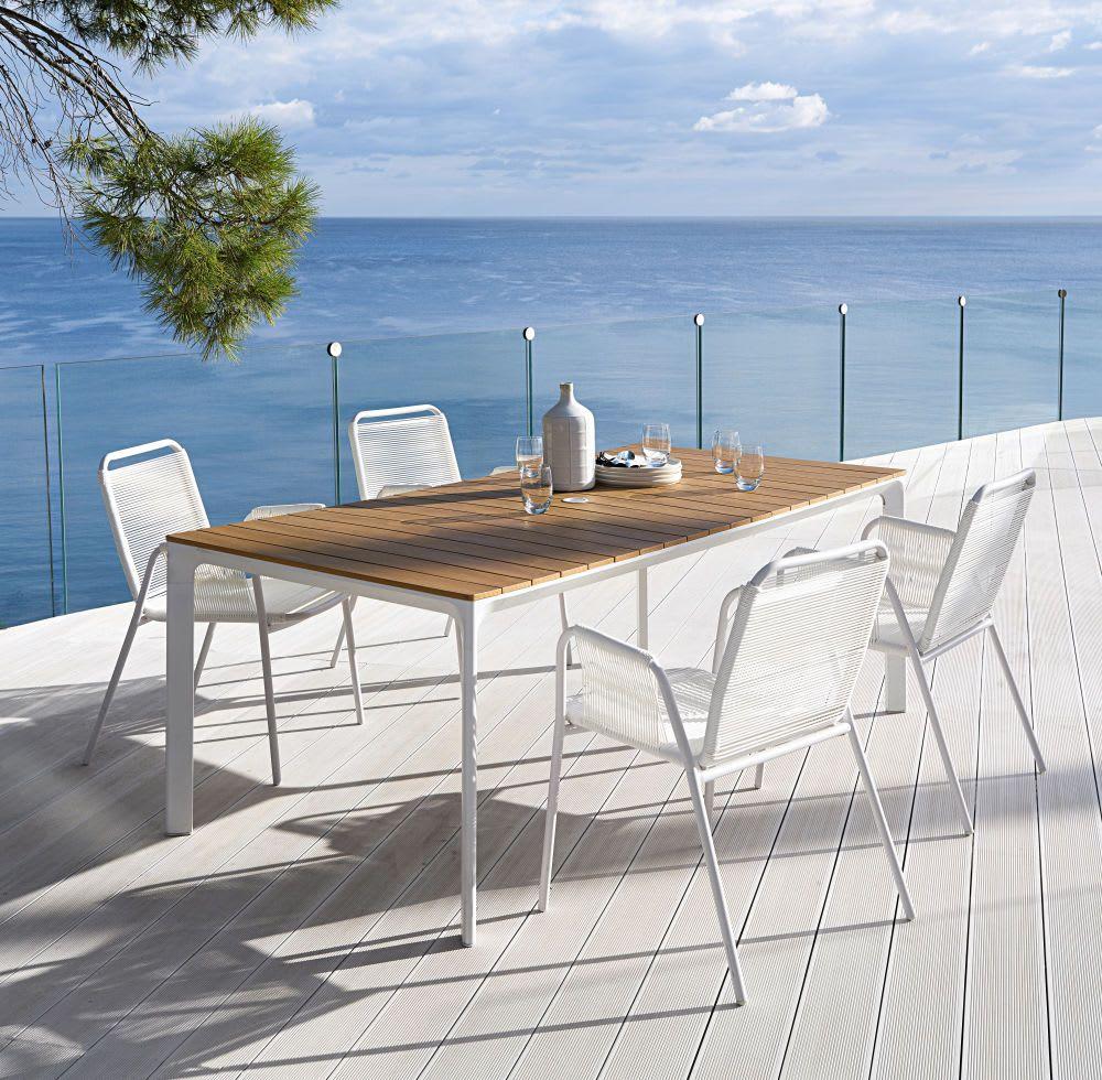 Silla De Jardín De Resina Blanca   Garden Table, Outdoor ... intérieur Table De Jardin Maison Du Monde