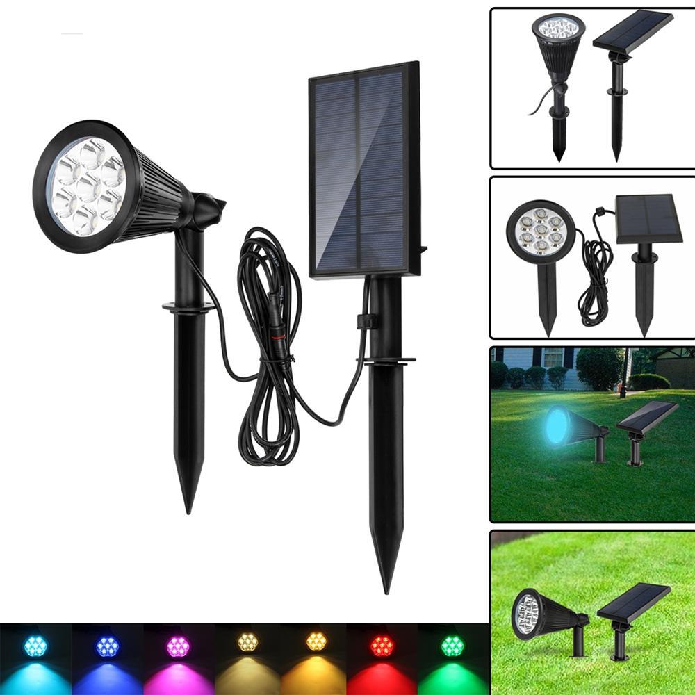 Solaire 7 Led Couleur Changeante Spot Spot Mur Jardin Extérieure Yard  Paysage Lampe concernant Lampe Solaire Jardin Couleur Changeante