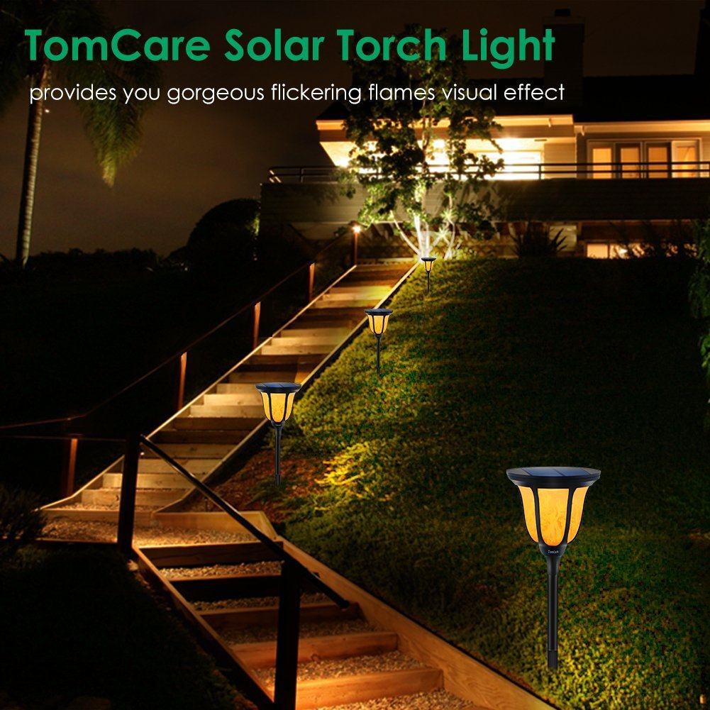 Solar Torches Light Outdoor Ip65 Waterproof Flame For Patio ... concernant Torches De Jardin
