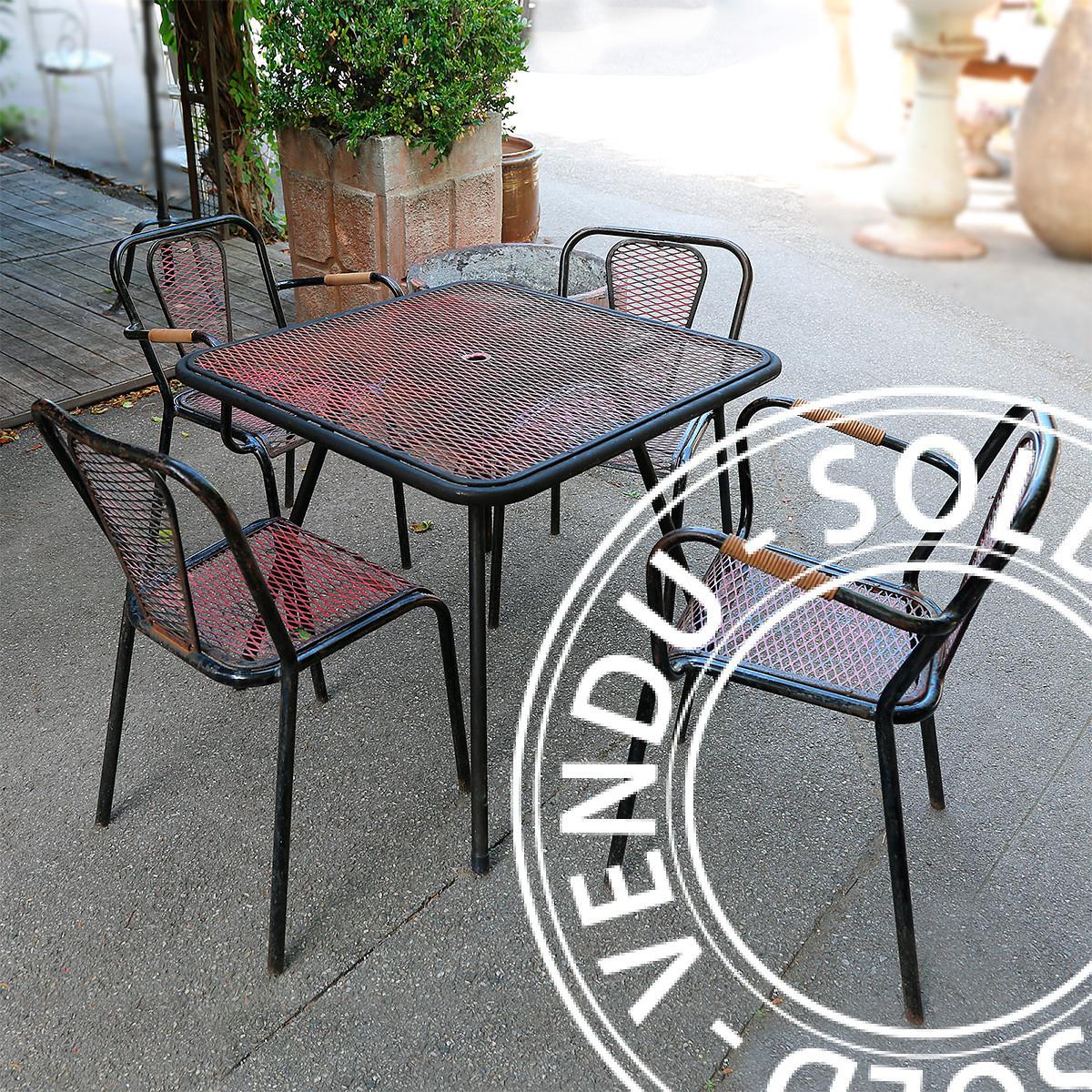 Sold - A Set Of Metal Garden Furniture By René Malaval 1950S encequiconcerne Salon De Jardin Métal
