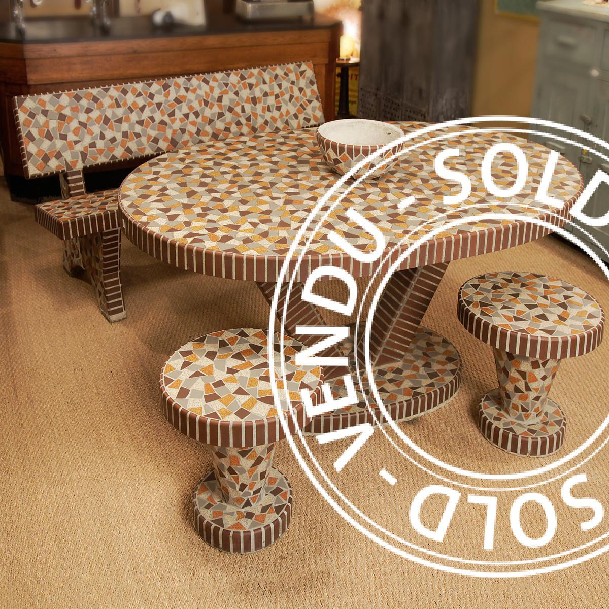 Sold - Garden Lounge In Concrete Mosaïc - Table, Coffee ... dedans Salon Jardin Mosaique