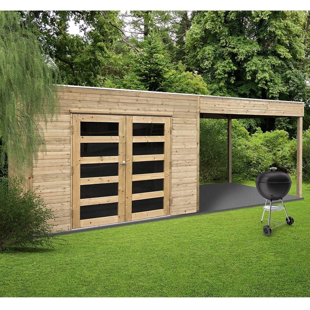 Solid Abri De Jardin En Bois Trait? Autoclave Avec Terrasse ... avec Abri De Jardin En Bois Traité Autoclave