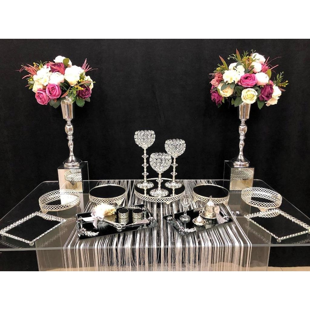 Söz Nişan Gümüş Petek Sunum Masası Seti Jardinyer Şamdan ... destiné Table Jardin Rose