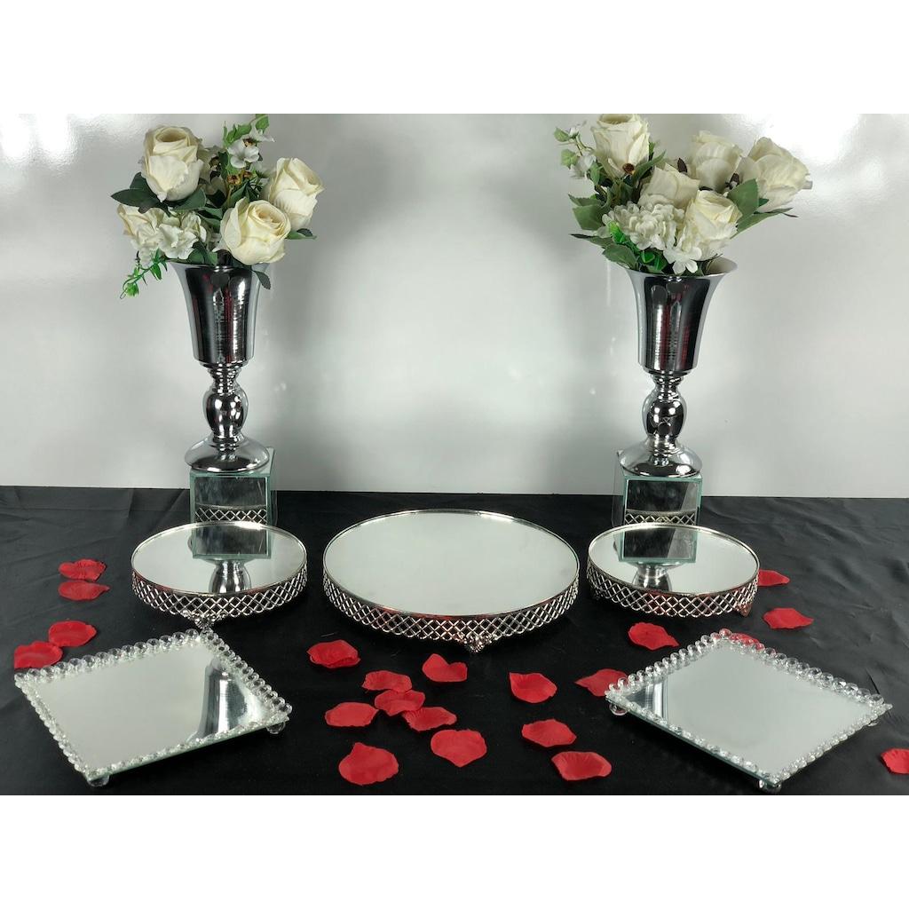 Söz Nişan Sunum Masası Set Üçlü Gümüş Yuvarlakjardinyermetal ... dedans Table Jardin Rose