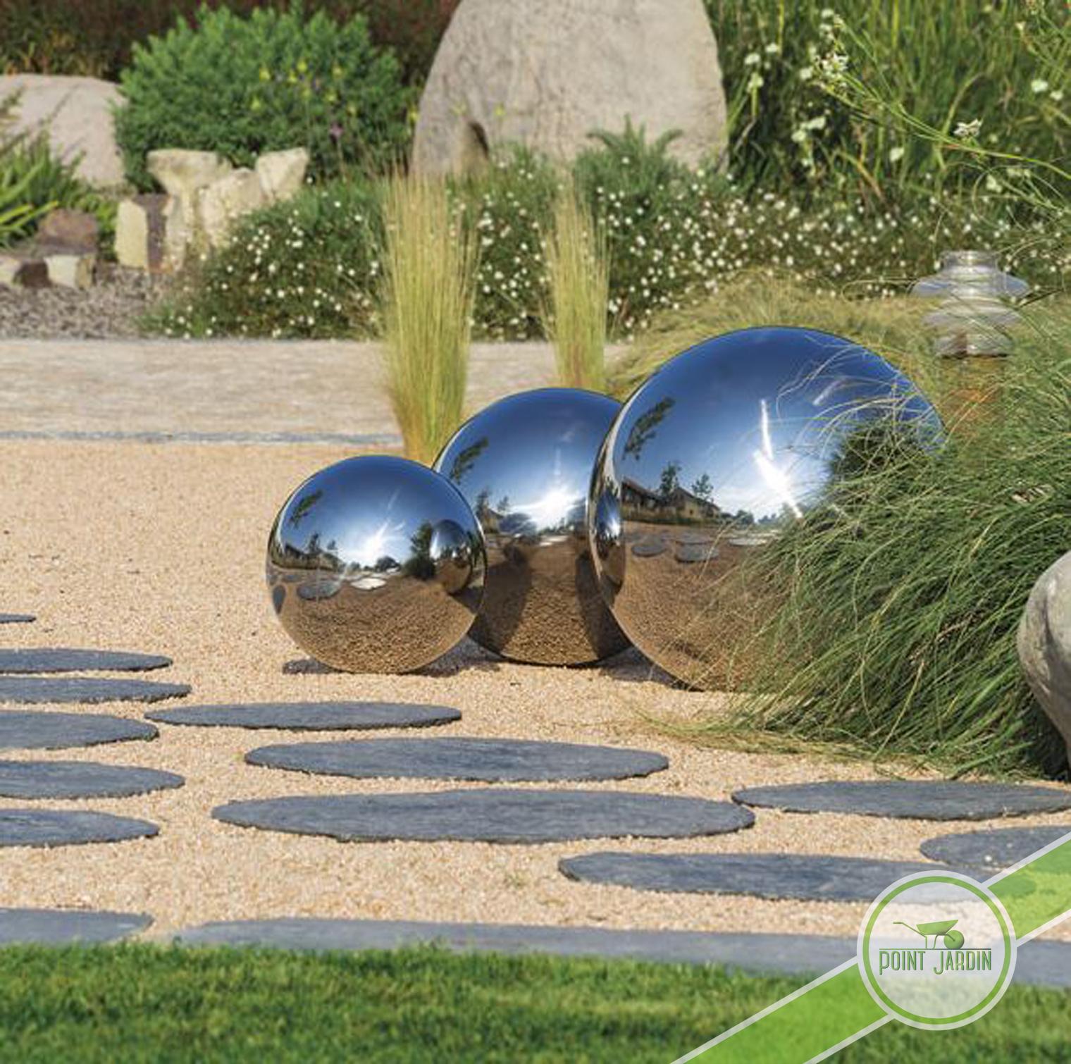 Sphère Inox 30Cm serapportantà Boule Deco Jardin