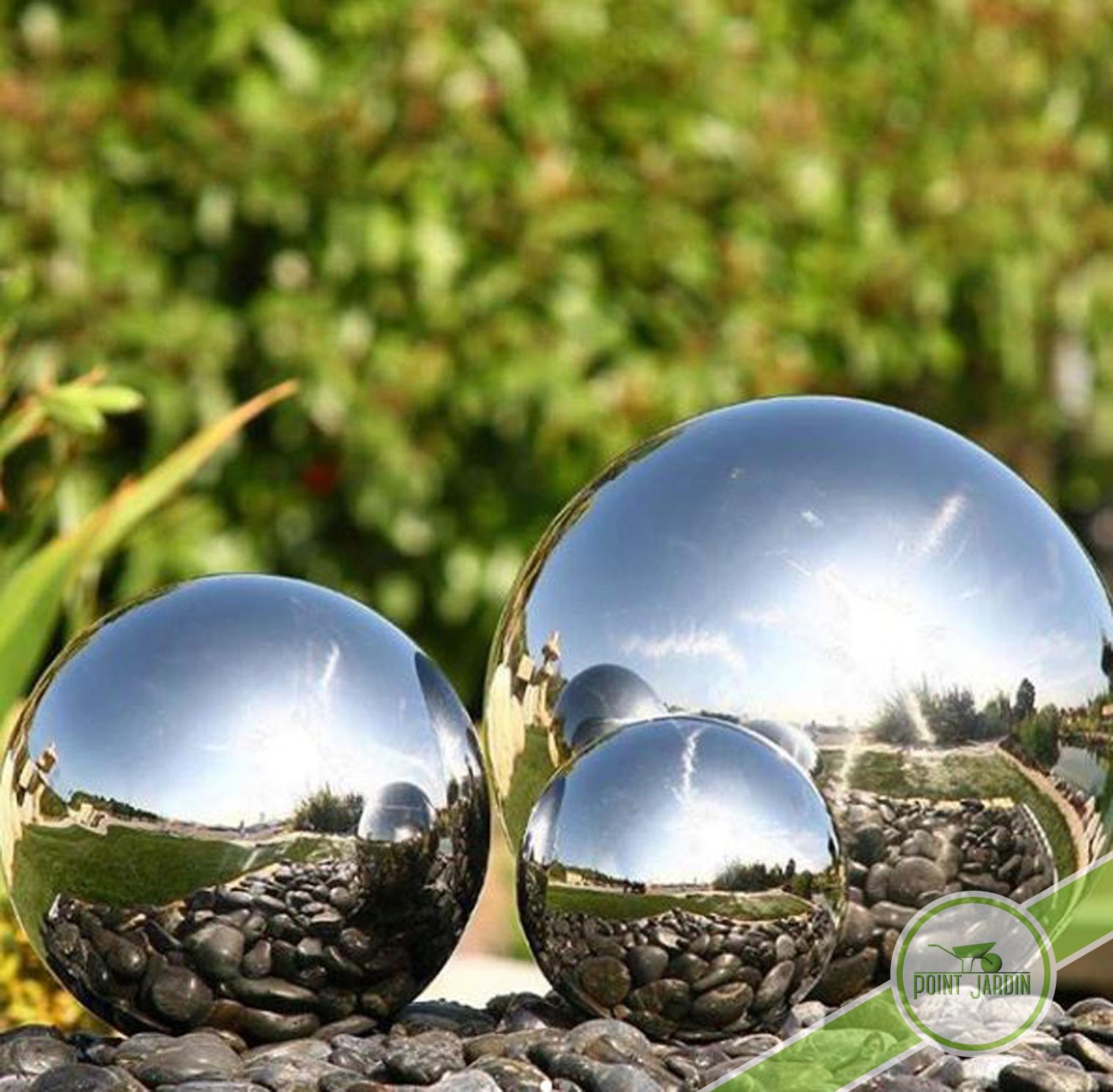 Sphère Inox 50Cm avec Boule Deco Jardin