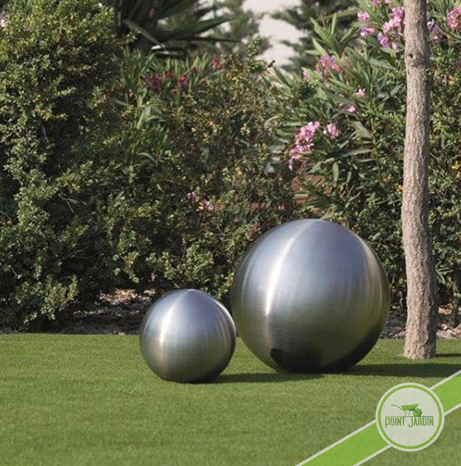 Sphère Inox Brossé 30Cm tout Boule Deco Jardin