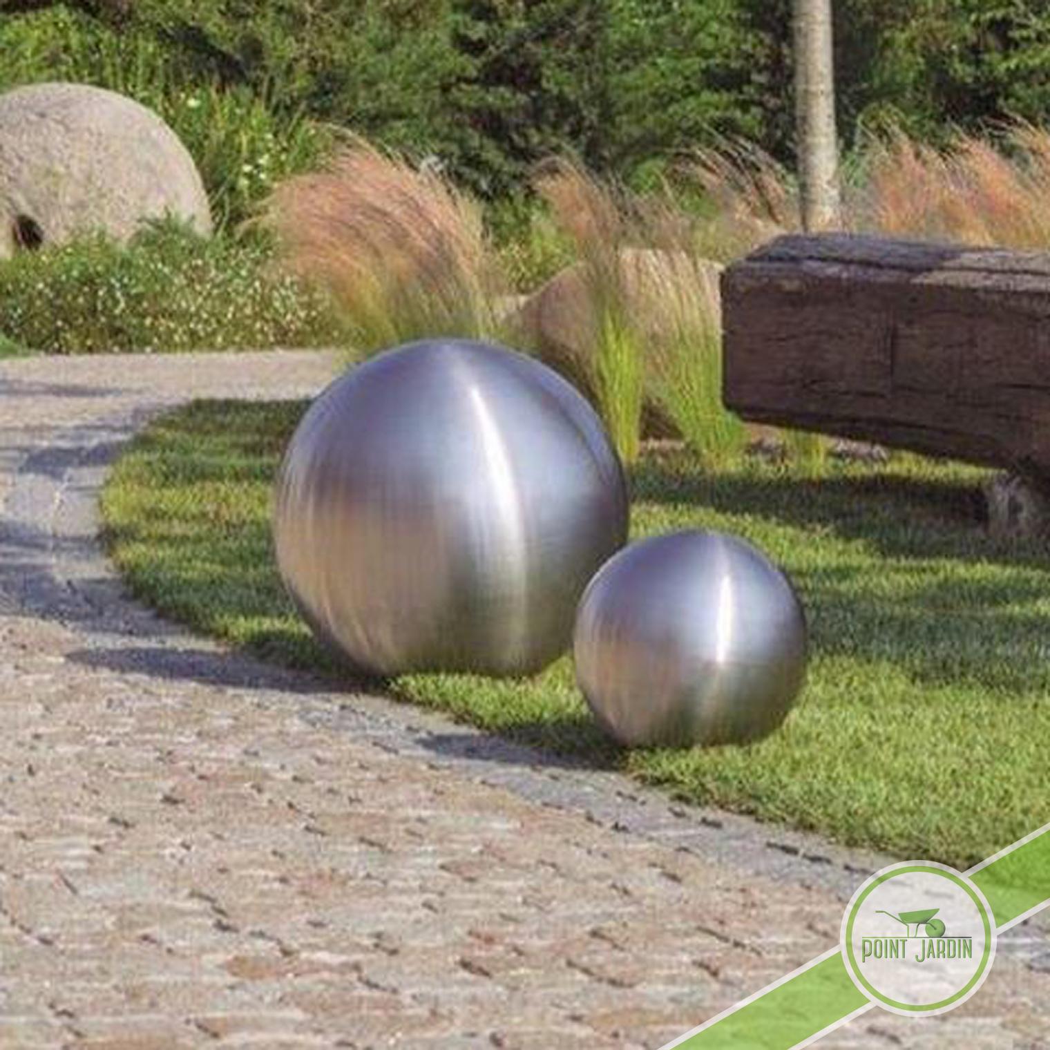 Sphère Inox Brossé 50Cm encequiconcerne Boule Deco Jardin