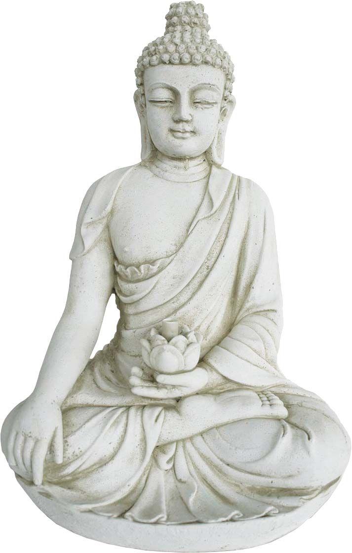 Statue Bouddha Avec Fleur De Lotus En Pierre Reconstituée destiné Statue Bouddha Exterieur Pour Jardin