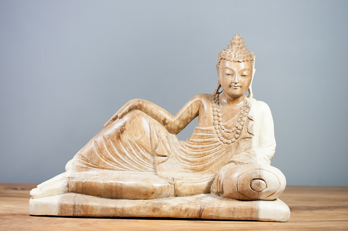 Statue Bouddha Couché En Suar 40 Cm Naturel dedans Bouddha Pour Jardin Pas Cher