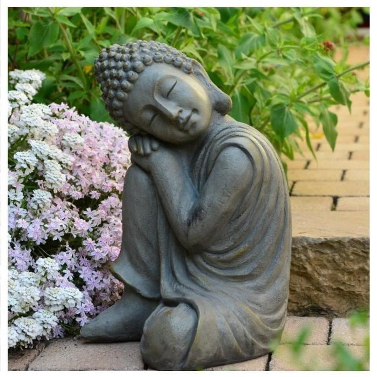 Statue Bouddha Jardin Décoration Zen 43 Cm - Achat / Vente ... dedans Statues De Jardin Occasion