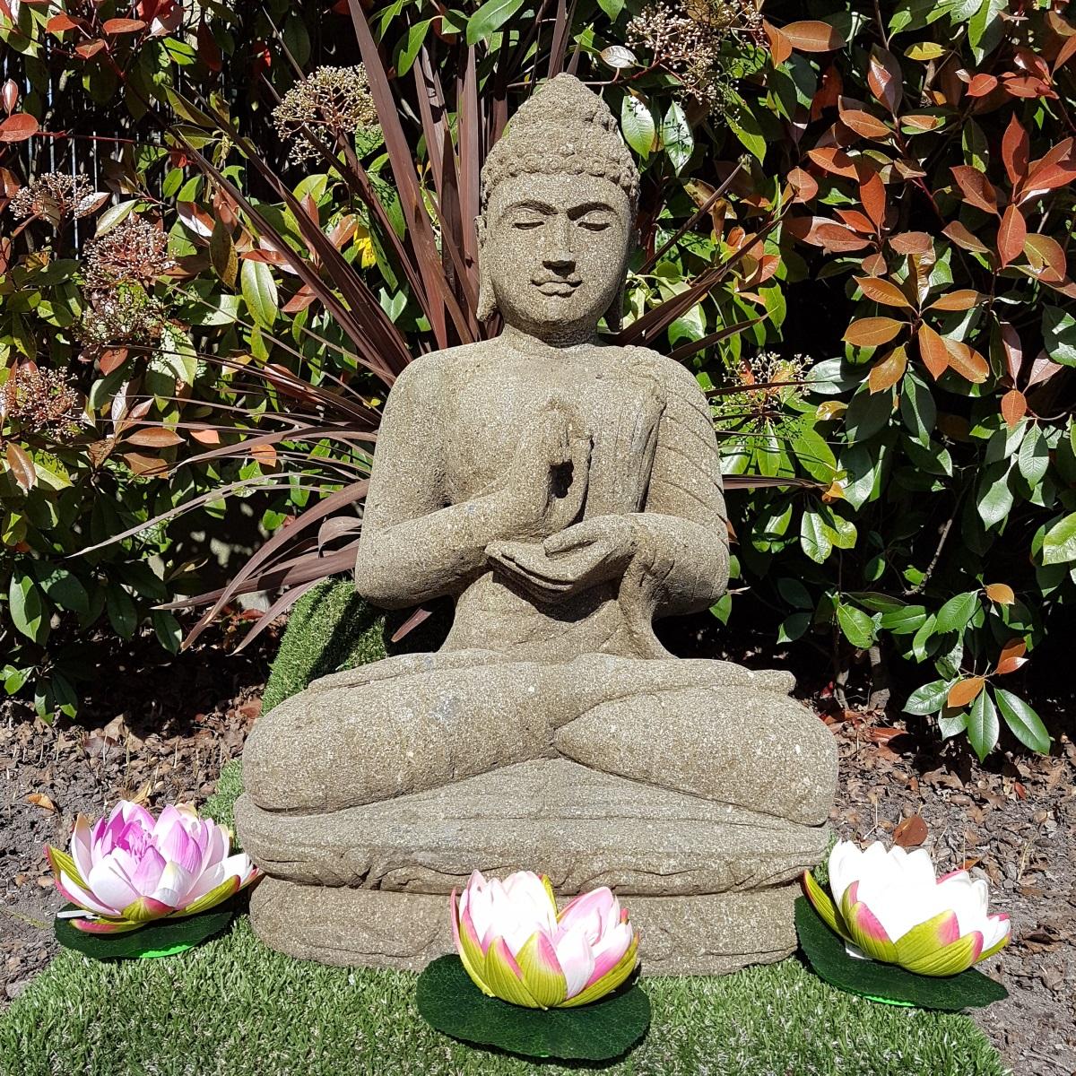Statue Bouddha Mudrã Dharmachakra En Pierre 77 Cm serapportantà Statue Bouddha Exterieur Pour Jardin