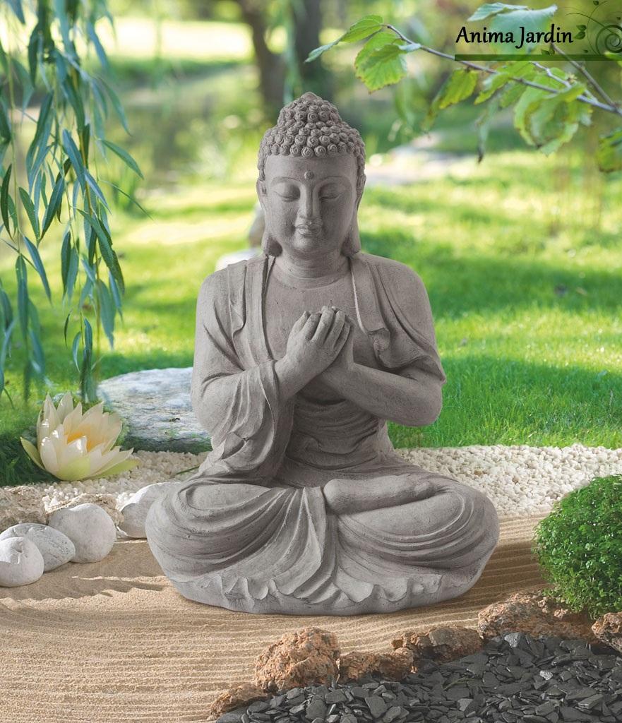 Statue Buddha 60 Cm En Fibre De Verre, Aspect Pierre, Décoration De Jardin dedans Statue De Jardin Pas Cher