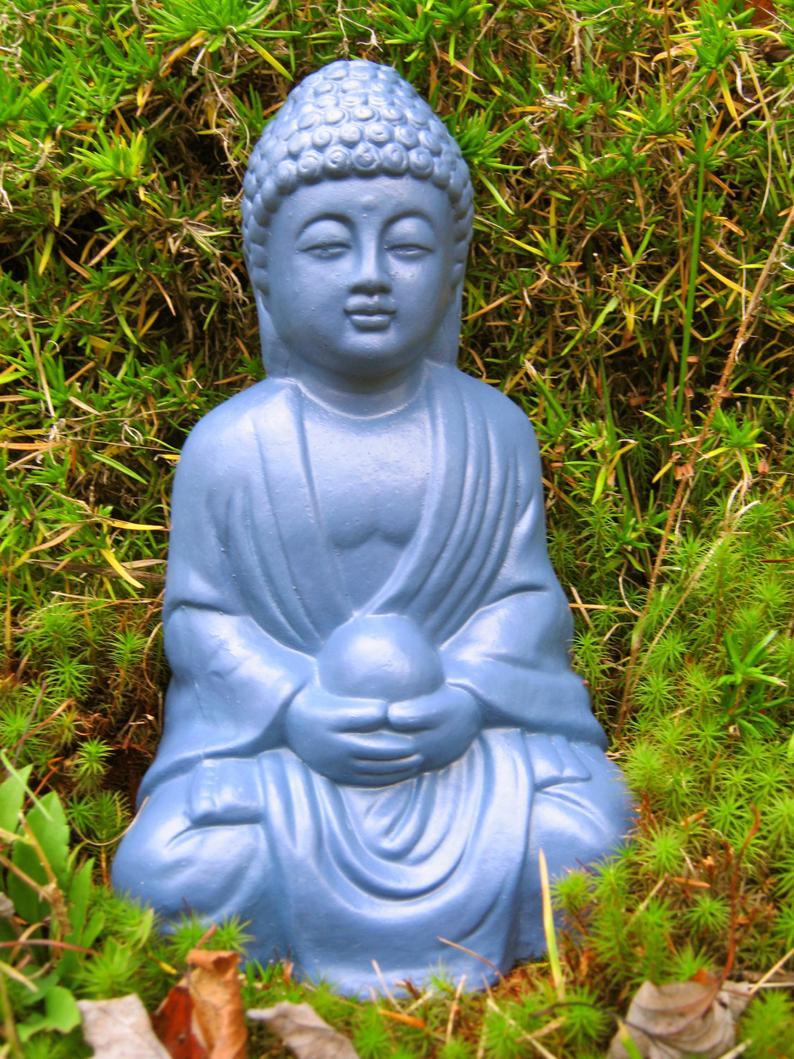 Statue De Bouddha, Figures Bleues En Béton De Bouddha, Bouddha De Médecine  Retenant La Perle, Énergie Curative, Statue De Jardin, 10 Pouces De Haut,  ... encequiconcerne Statue Bouddha Exterieur Pour Jardin