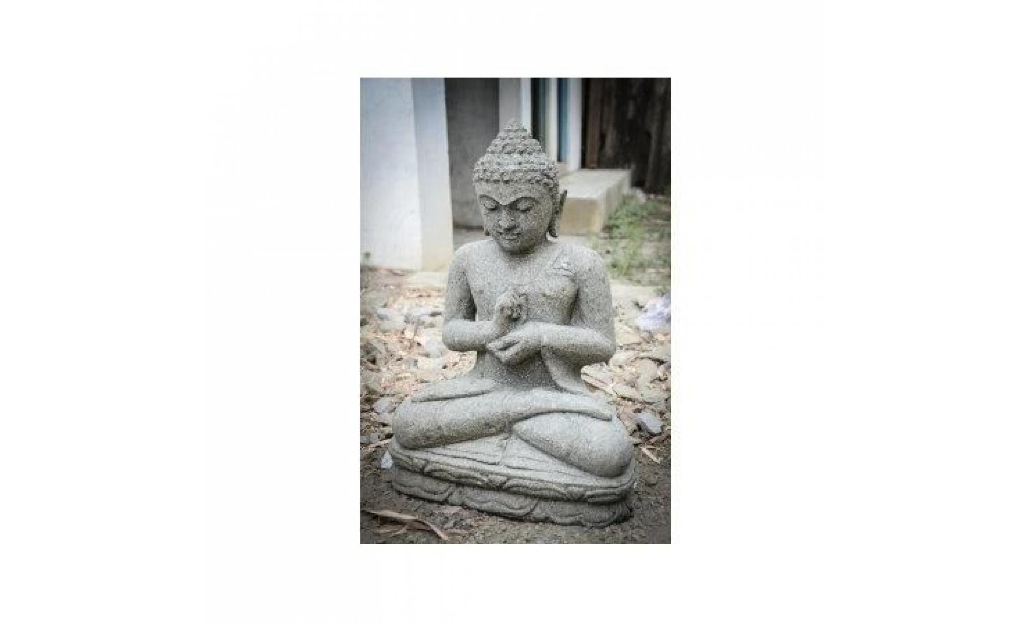 Statue De Jardin Bouddha En Pierre Volcanique P... tout Bouddha Pour Jardin Pas Cher