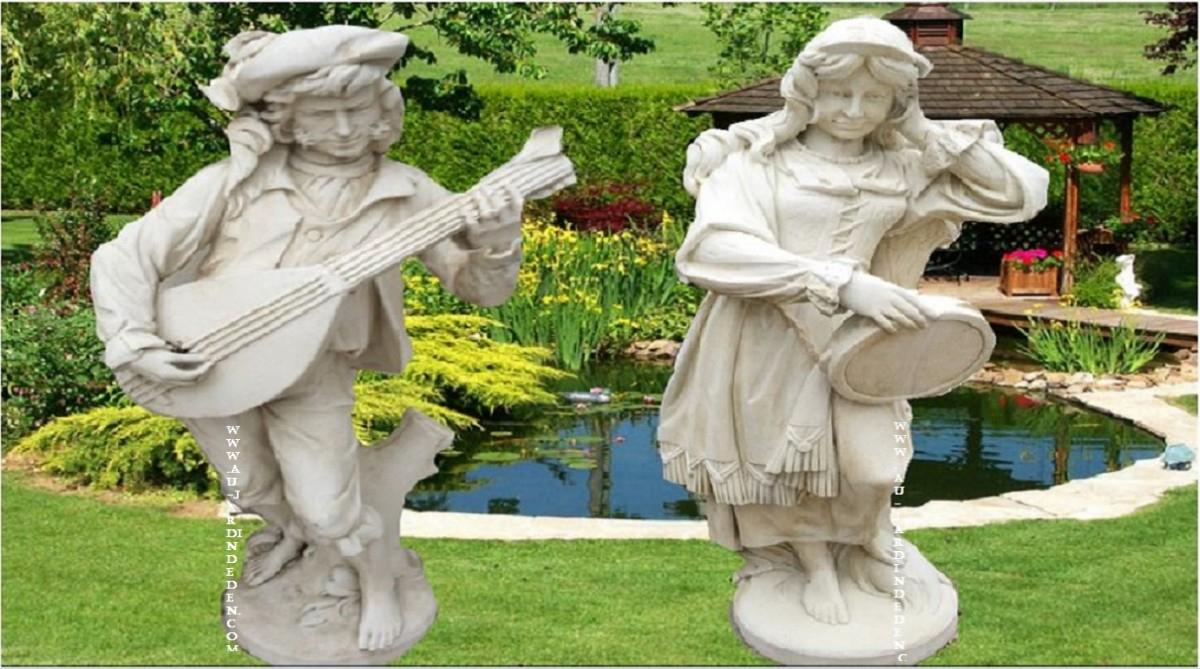 Statue De Jardin En Pierre Reconstituee Couple Baladins-A avec Statue De Jardin En Pierre Reconstituée
