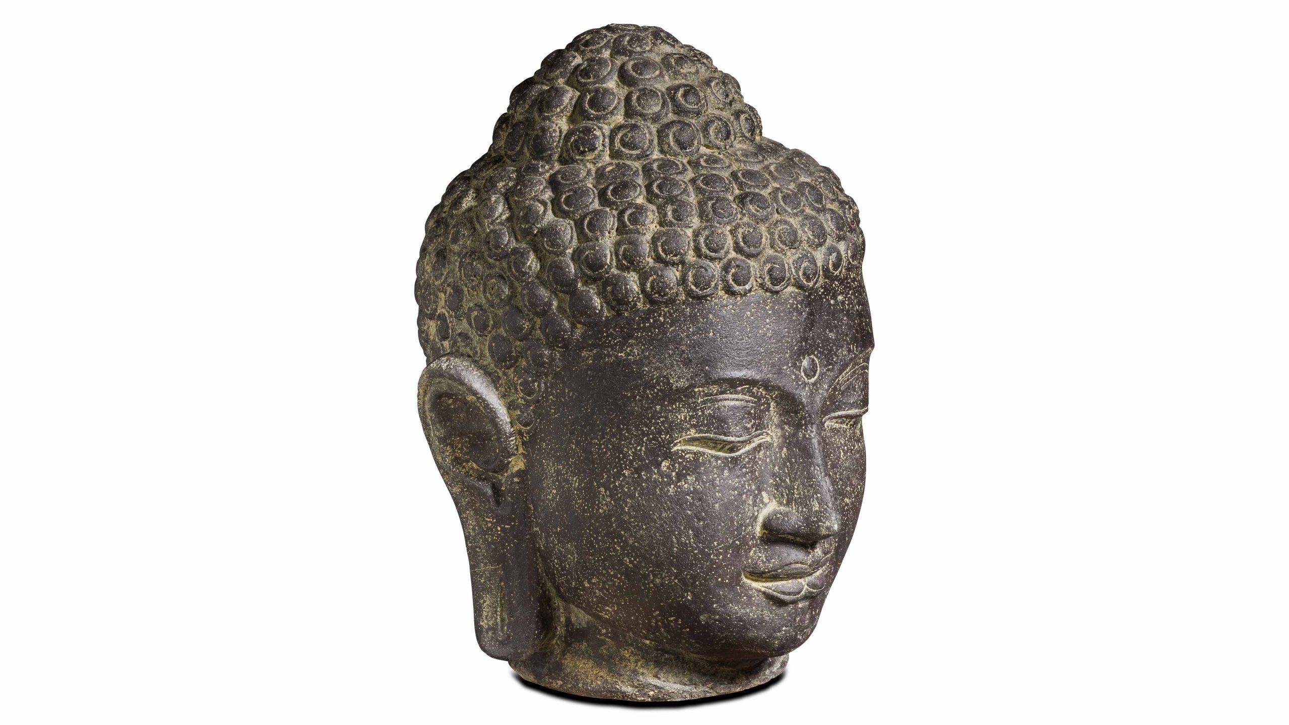 Statue De Jardin Tête De Bouddha En Pierre 60Cm | Oviala à Statue Bouddha Exterieur Pour Jardin