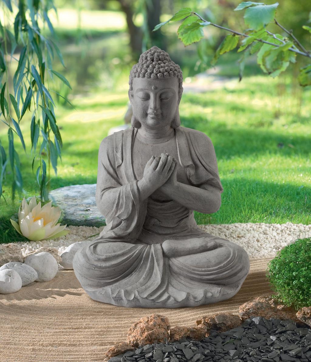 Statue En Fibre De Verre Et Argile - Nortene intérieur Statue Bouddha Exterieur Pour Jardin